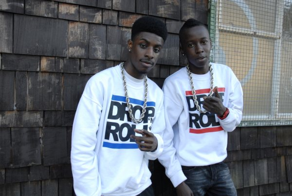 Ren & Noddz wearing Drop N Roll Clothing